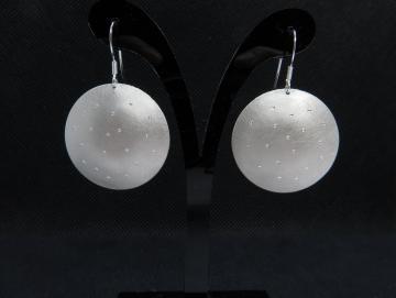 Silberohrringe gebürstet-mattiert mit Sternen