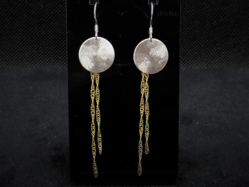 Lange Ohrhänger Silber und goldfarben